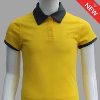 GIRL FITTED  POLO YELLOW GREY COLLAR/CUFF