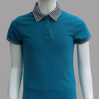 GIRL FITTED POLO TURQUOISE STRIPES COLLAR/CUFF