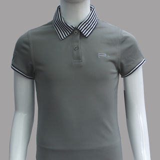 GIRL FITTED POLO GREY STRIPES COLLAR/CUFF