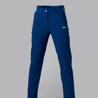 GIRLS GOLF TROUSERS BLUE - LIME LOGO