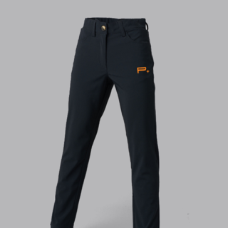 GIRLS GOLF TROUSERS BLACK - ORANGE LOGO