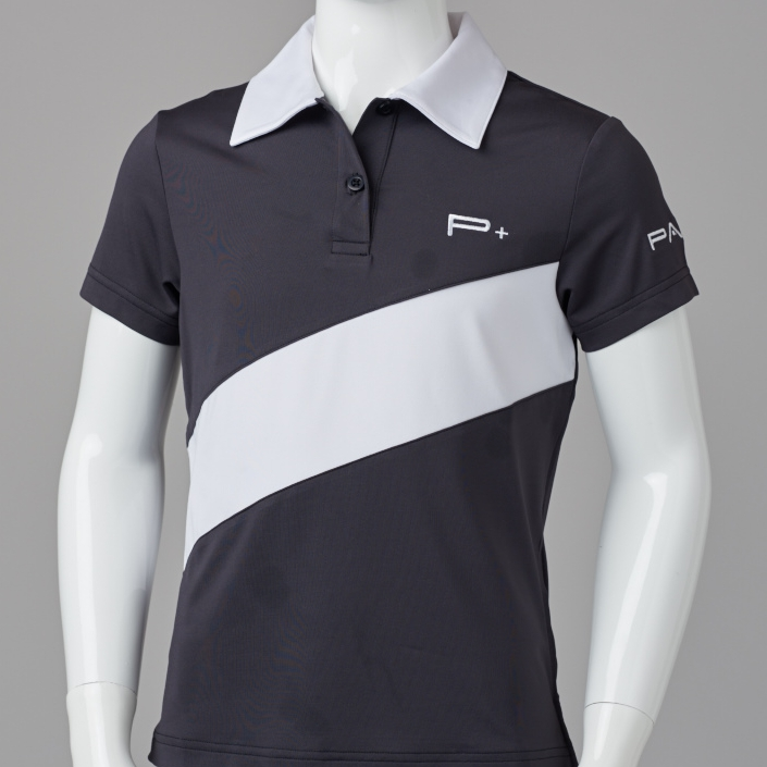 GIRL FITTED POLO BLACK/WHITE
