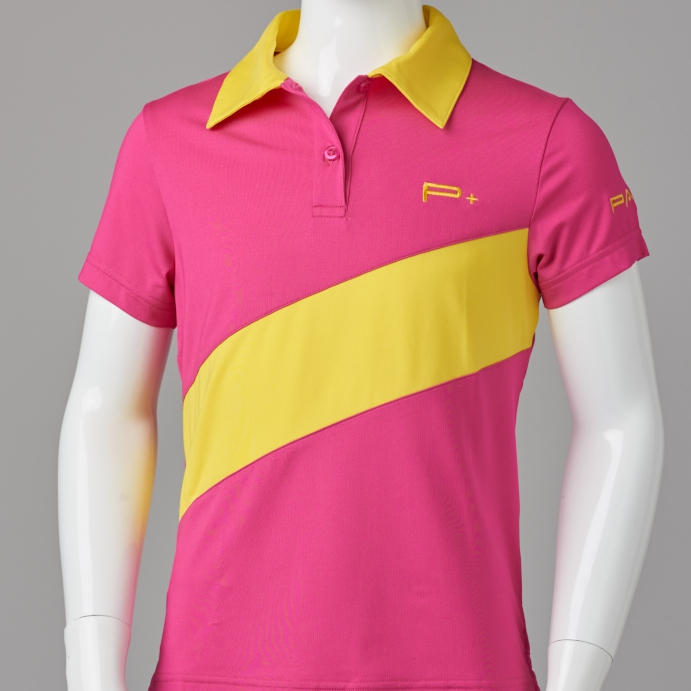 GIRL FITTED POLO PINK/YELLOW