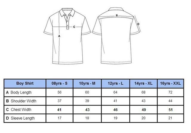 Boy Shirt Size Chart Boys Shirt Size Chart